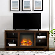 """W. Trends 58"""" Simple Fireplace TV Stand for TVs Up to 65"""" - Dark Walnut"""
