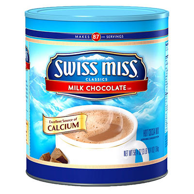 Swiss Miss Cocoa Canister, Milk Chocolate, 58.4 oz.