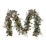 """Puleo International 9' x 10"""" Decorated Christmas Garland with 100 ct. Lights"""
