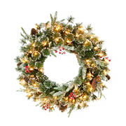 """Puleo International 24"""" Decorated Pre-Lit Wreath with 50 ct. Lights"""