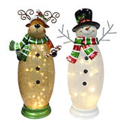 Puleo International Crackle Glass Moose and Snowman with 40 ct. Lights - White