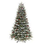 Puleo International 7.5' Flocked Halifax Fir Pre-Lit Tree with 700 ct. Lights
