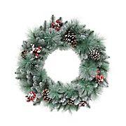 "Puleo International 24"" Glitter Needle Mixed Christmas Wreath"