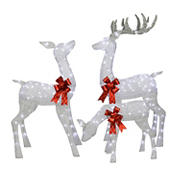Puleo International 3-Pc. Outdoor Christmas Lighted Deer Family Decor - Silver
