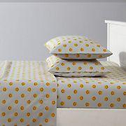 Joe Boxer Fun Prints Ultra Soft Happy Face Grey Sheet Set - Twin