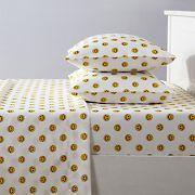 Joe Boxer Fun Prints Ultra Soft Happy Face White Sheet Set - Twin