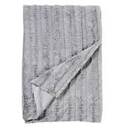 Swift Home Cozy and Soft Embossed Faux-Fur Reverse to Micomink Throw Blanket - Light Gray