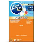 Alka-Seltzer Plus Severe Cold and Flu PowerFast Fizz Citrus Effervescent Tablets, 72 ct.