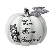 """Northlight 8"""" White and Black Warm Harvest Blessing Thanksgiving Table Top Pumpkin"""