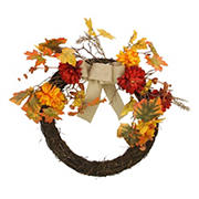 "Northlight 20"" Fall Leaf with Mum Flower Artificial Thanksgiving Twig Wreath - Orange"