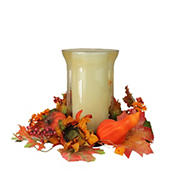 """Northlight 16"""" Orange and Red Sunflower with Pumpkin Fall Pillar Candle Holder"""