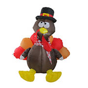 Northlight 4' Red and Brown Inflatable Lighted Thanksgiving Turkey Outdoor Decor