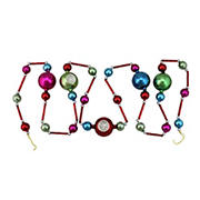 """Northlight 92"""" Red and Silver Glass Bead with Retro Reflector Ornament Christmas Garland"""