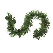 "Northlight 9' x 16"" Pre-Lit Dakota Red Pine Artificial Christmas Garland - Warm White LED Lights"