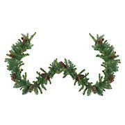 "Northlight 9' x 12"" Pre-Lit Dakota Green and Brown Pine Artificial Christmas Garland - Clear Dura Lights"