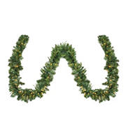"""Northlight 50' x 14"""" Pre-Lit Ashcroft Cashmere Pine Artificial Christmas Garland- Warm White LED Lights"""