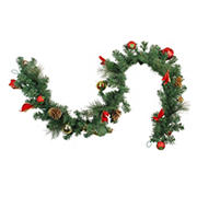 """Northlight 6' x 10"""" Red and Gold Ball Ornaments with Bows Artificial Christmas Garland - Unlit"""