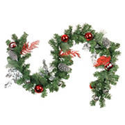 """Northlight 6' x 8"""" Red Ornaments and Pine Cone Artificial Christmas Garland - Unlit"""