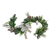 """Northlight 6' x 11"""" Bow and Pine Cone Artificial Christmas Garland - Unlit"""
