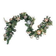"""Northlight 6' x 12"""" Green and Gold Leaves Ornaments with Stars Artificial Christmas Garland - Unlit"""
