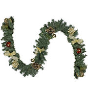 Northlight 6' Pre-Decorated Copper and Gold Ball Ornament and Bow Artificial Christmas Garland - Unlit