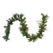 """Northlight 6' x 14"""" Mixed Pine and Glitter Pine Cones Christmas Garland - Unlit"""