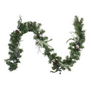 """Northlight 6' x 12"""" Pine and Blueberries Artificial Christmas Garland - Unlit"""