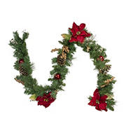 """Northlight 6' x 10"""" Pine and Poinsettias Artificial Christmas Garland - Unlit"""