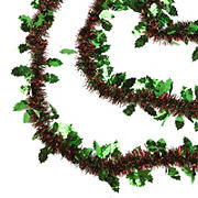 Northlight 50' Shiny Red and Green Christmas Tinsel Garland with Green Holly, 3 pk.