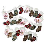 """Northlight 8' x 1"""" White and Red Stocking Artificial Christmas Garland - Unlit"""