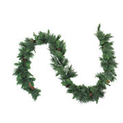 """Northlight 9' x 14"""" White Valley Pine with Pine Cones Artificial Christmas Garland - Unlit"""