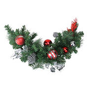"""Northlight 26"""" Red Pine Cone and Ornaments Artificial Christmas Swag - Unlit"""