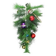 """Northlight 24"""" Pre-Decorated Multi-Color Ornament Long Needle Pine Artificial Christmas Teardrop Swag - Unlit"""