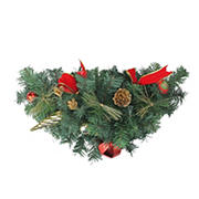 """Northlight 24"""" Pre-Decorated and Ball Ornaments with Bows Artificial Christmas Swag - Unlit"""