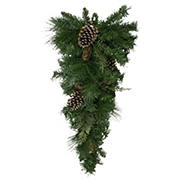 """Northlight 28"""" Artificial Mixed Pine with Pine Cones and Gold Glitter Christmas Teardrop Swag - Unlit"""