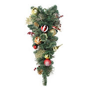 """Northlight 30"""" Green Foliage Embellished Artificial Christmas Teardrop Swag - Unlit"""