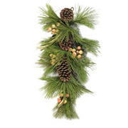"""Northlight 30"""" Pine Needles with Pinecones and Golden Antlers Artificial Christmas Teardrop Swag - Unlit"""