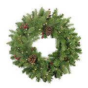 """Northlight 24"""" Pre-lit Noble Fir with Red Berries and Pine Cones Artificial Christmas Wreath - Clear Lights"""