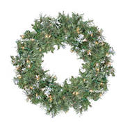 """Northlight 24"""" Pre-Lit Snow Mountain Pine Artificial Christmas Wreath - Clear Lights"""