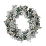 """Northlight 24"""" Pre-Lit Flocked Victoria Pine Artificial Christmas Wreath - Clear Lights"""