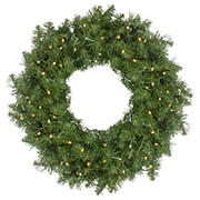 """Northlight 24"""" Pre-Lit Whitmire Pine Artificial Christmas Wreath -  Warm White LED Lights"""
