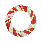 """Northlight 18"""" Pre-Lit Candy Cane Stripe Sisal Artificial Christmas Wreath - Clear Lights"""