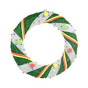 """Northlight 18"""" Pre-Lit Green and White Candy Striped Sisal Artificial Christmas Wreath - Clear Lights"""