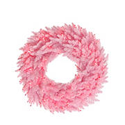 """Vickerman 60"""" Pre-Lit Pink Ashley Spruce Christmas Wreath - Clear and Pink Lights"""