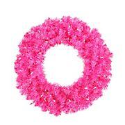 "Vickerman 30"" Pre-Lit Sparkling Pink Wide Cut Artificial Christmas Wreath - Pink Lights"