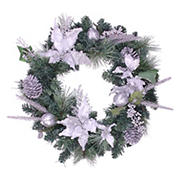 """Northlight 24"""" White Poinsettia and Pine Cone Artificial Christmas Wreath - Unlit"""