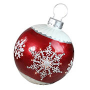 """Northlight 26.5"""" LED Lighted Ball Christmas Ornament with Snowflake Outdoor Decoration - Red"""
