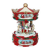 """Northlight 6.5"""" Animated Musical Carousel Christmas Music Box - Red and White"""
