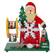 """Northlight 9.5"""" Santa Claus Wonderland Christmas Musical Tabletop Decor - Red and Green"""