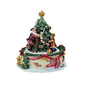 """Northlight 5.5"""" Musical Santa Claus and Christmas Tree Winter Scene Rotating Tabletop Decoration"""